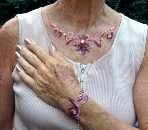 necklace, bracelet with copper sparkles